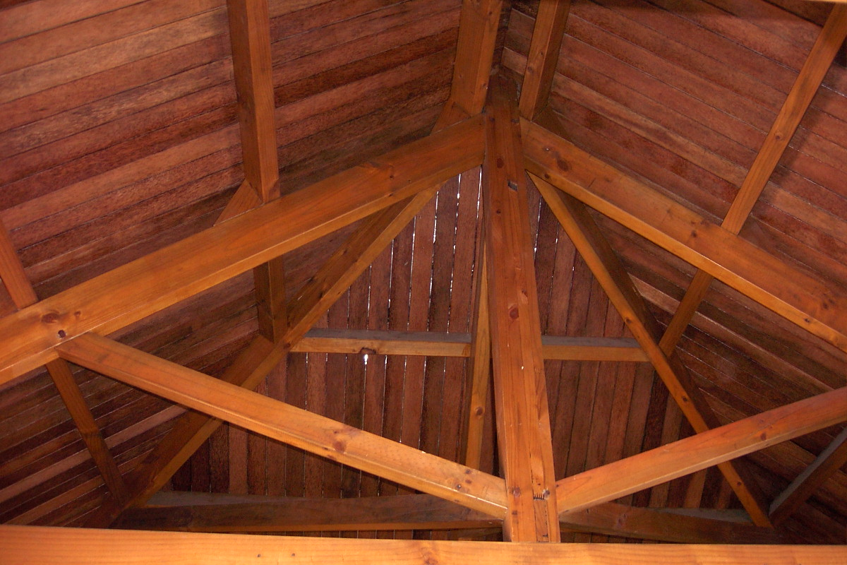 Coconut wood roof sheating on Pinus caribaea roof stucture