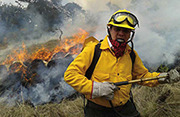 A firefighter supervises a controlled burn in Guatemala as part of the country's integrated forest management approach. Photo: C. Goméz.