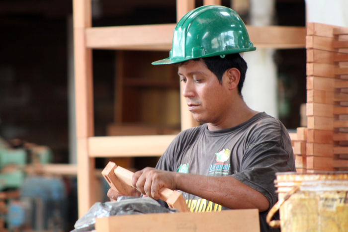 Skilled workforce<br><br>A worker assembles a chair in a furniture factory in Peru, where ITTO project PD 540/09 Rev.2 (I) has invested in improving the manufacturing of timber products and adding value to them.<br>